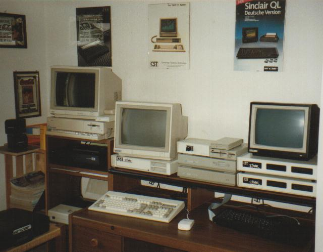 At the top peak of COWO Electronic in 1991, Urs was using a armada of QL compatible computers to develop, test and support the QTop software.